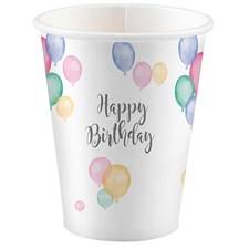 8 Becher 250ml Happy Birthday Pastel aus Karton