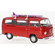 VW T2 Bus, rot mit Surfboard